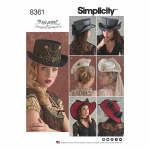 Hats in Three Sizes: S (52cm/21`), M (56cm/22`), L (58cm/23`), suurused: A (S-M-L), Simplicity Pattern #8361