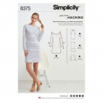 Naiste trikookleit, topp mitmesuguste lõigetega disainihäkiks, suurused: A (XXS-XS-S-M-L-XL-XXL), Simplicity Pattern #8375
