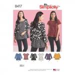 Naiste pullover topid käise ja kanga variatsioonidega, Simplicity Pattern #8417
