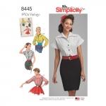 Naiste vintage pluusid ja Cummerbund, Simplicity Pattern # 8445