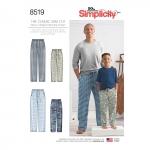 Poiste ja meeste Slim Fit salongi`i püksid, suurused: A (S - L / XS - XL), Simplicity Pattern # 8519