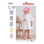Mudilaste kleidid ja müts, suurused: A (1 / 2-1-2-3-4), Simplicity Pattern # 8563