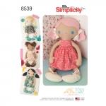 38cm täidisega nukud ja riided, suurused: OS (ÜkS SUURUS), Simplicity Pattern # 8539