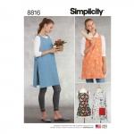 Misses` Aprons, Sizes: A (XS-S-M-L-XL), Simplicity Pattern #8816