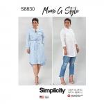 Mimi G Naiste ja väikesekasvuliste Petite-naiste särkkleit, Simplicity Pattern #S8830