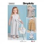 Mudilaste kleidid, kombinesoon, korv ja lelu, suurused: A (1/2-1-2-3-4), Simplicity Pattern #S8850