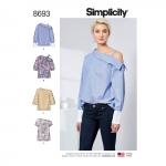 Women`s One Shoulder Tops, Simplicity Pattern #8693