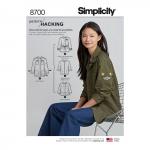 Naiste jakk disainihäki võimalustega, suurused: A (XS-S-M-L-XL), Simplicity Pattern #8700