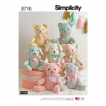 Stuffed Animals, Sizes: OS (ONE SIZE), Simplicity Pattern #8716