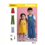 Toddler`s Jumper, Jumpsuit, and Romper, Sizes: 1/2-1-2-3-4, Simplicity Pattern #S8934