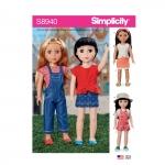 36cm nuku riided, suurused: Ühes mõõdus, Simplicity Pattern #S8940