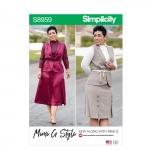 Naiste ja Petite-naiste topp, seelik, ja vest, Simplicity Pattern #S8959