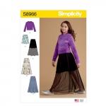 Tüdrukute seelikud ja trikoo topp suurused: 8-10-12-14-16, Simplicity Pattern #S8966