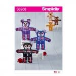 Topistäidetavad kass, karu ja koer, suurused: Ühes mõõdus, Simplicity Pattern #S8968