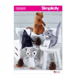 Squirrel, Owl, Skunk, Beaver Stuffies, Sizes: ONE SIZE, Simplicity Pattern #S8969