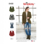 Naiste voodrita jakk ja vest, suurused: A (XS-S-M-L-XL) Simplicity Pattern #8468