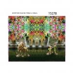 Haldjate, ükssarvikute ja lilleaiaga trikookangas kupongina 115 cm x 150 cm, Stenzo, 15278
