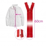 Open end plastic zippers, 6 mm, 60 cm