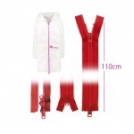 Open end two-way plastic zippers, 2 sliders, 6 mm, 110 cm