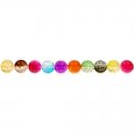 Värvisegu, kirjud, mõralised, läbipaistvad, ümarad akrüülhelmed, 8mm