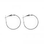 Round Loop Earring Ear Wire; 2pc / 25mm