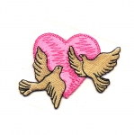 Embroidered Iron-On Patch; Heart with Doves / 8 x 6cm
