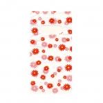 Valge, punase/roosamustriline plastikkott/ Red Pattern White Plastic Bag / 17,5 x 9cm