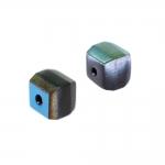 Kuubikukujuline, tahuline 9x6mm klaashelmes, 1/2 metallik läikega