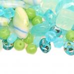 Pärlisegu Helesinistest, helerohelistest erikujulistest pärlitest 4-17mm, 100/50g pakk