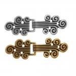 Norra haak, antiikse mustriga metallist, kahepoolne haak 60x20mm