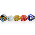 Kirjud mustrilised südamekujulised millefiori pärlid 18x18x5,5mm