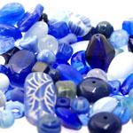 Pärlisegu Sinistes toonides eri suurusega  pärlitest 5-20mm, 100/50g pakk