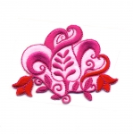 Triigitav Aplikatsioon; Lillega ornament / Embroidered Iron-On Patch; Flower Ornament / 7,5 x 6cm