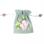 Linasest kangast,tikitud lilledega ja puupärlitega kinkekott, 14,5x11,5cm