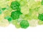 Pärlisegu Rohelistest lillekujulistest pärlitest 4-10mm, 100/50g pakk