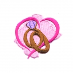 Embroidered Iron-On Patch; Wedding Rings Pattern / 8 x 7cm