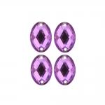 Õmmeldav, tahuline, ovaalne, akrüülkristall, 4 või 6tk pakis 18x13mm