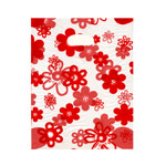 Large Red Flower Pattern Plastic Bag / 25 x 20cm