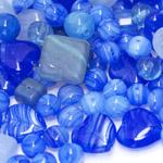 Pärlisegu koobaltsinistest erikujulistest pärlitest 6-17mm, 100/50g pakk