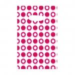 Valge, punase/roosamustriline plastikkott/ Red Pattern White Plastic Bag / 21 x 13,5cm