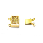 Rectangular Box Clasp with Floral Pattern, 2 Eyelets / 10mm