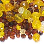 Pärlisegu Kollakatest, pruunikatest klaashelmestest 6-14mm, 100/50g pakk