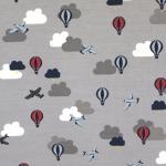 Lennukite, õhupallide ja pilvedega, veniv puuvillasegu kangas KC1307 145cm