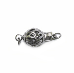 Spherical Box Clasp with Antique Pattern / 15 x 8mm