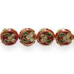 Värvilised, maalitud ümarad  lapikud cloisonne metallhelmed 10x4mm