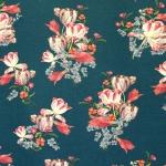 Tulpidega lillekimbuga, veniv puuvillasegu kangas, 150cm, 007559