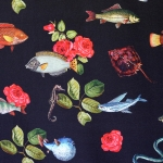 Kalade ja roosidega , veniv puuvillasegu kangas 11252 150cm, Stenzo textiles