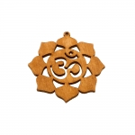 Filigraanne puitdetailid, Wooden Circle Pendant with Floral Pattern, 62 x 52 x 2mm
