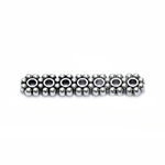 Antiikse mustriga vahedetail, seitsme auguga / Antique Silver 7-Hole Cord Spacer Bar with Flower Pattern / 24 x 5mm