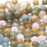 Pärlisegu Lillakas-rohekates-pruunikates toonides pärlitest 6mm, 100/50g pakk